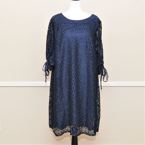 Navy Lace Shift Dress with Sleeve Ties Sz 26/28